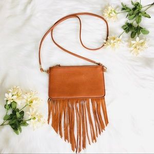 Genuine Leather Fringe Tan Crossbody Bag